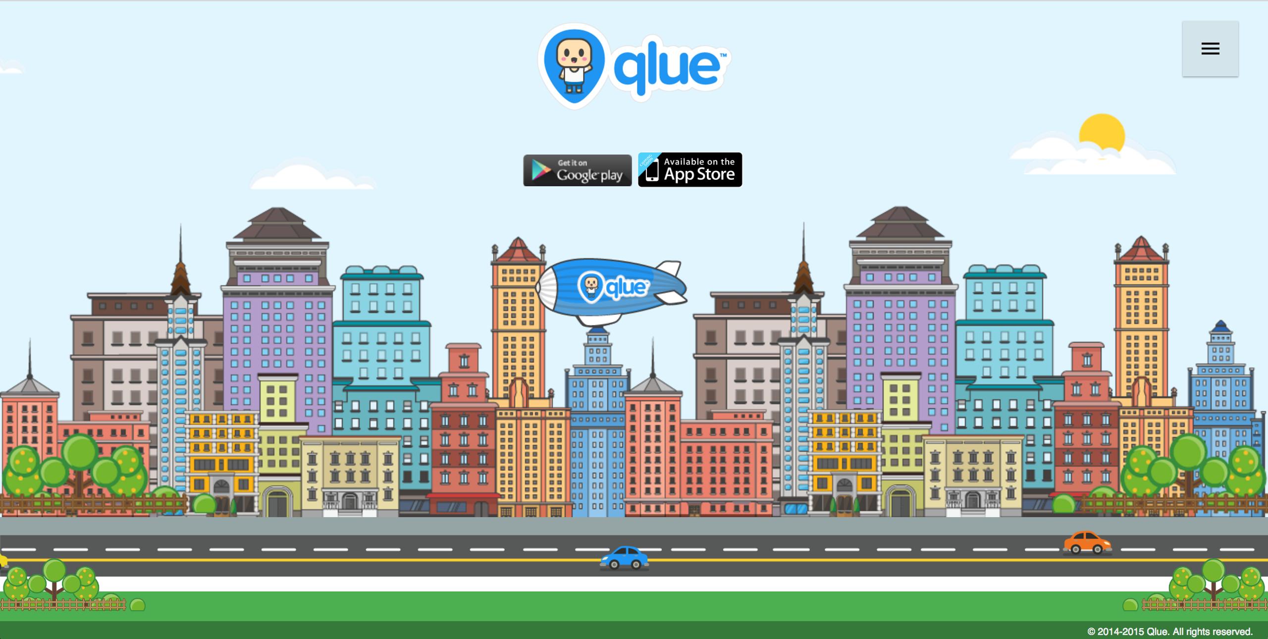 Tampilan depan situs qlue.co.id