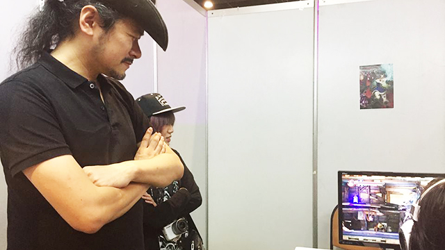 IGA-SAN. The Japanese developer watches on as a player demoes his upcoming game, Bloodstained. Photo by Nadine Pacis/Rappler