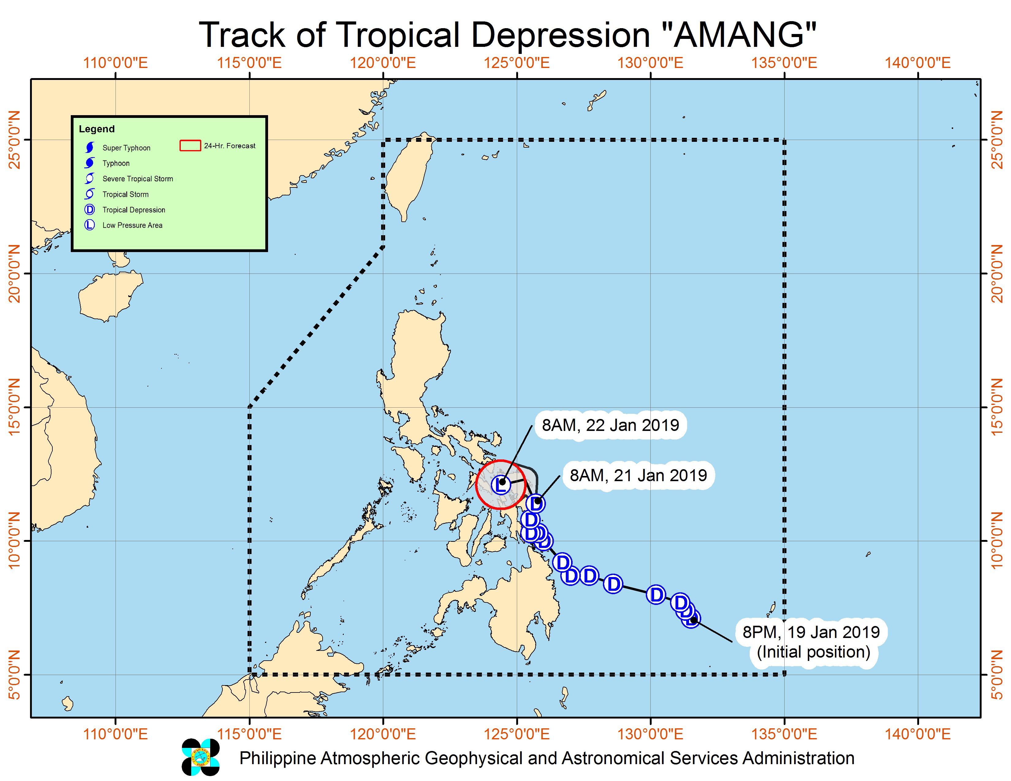 Forecast track of Tropical Depression Amang as of January 21, 2019, 11 am. Image from PAGASA