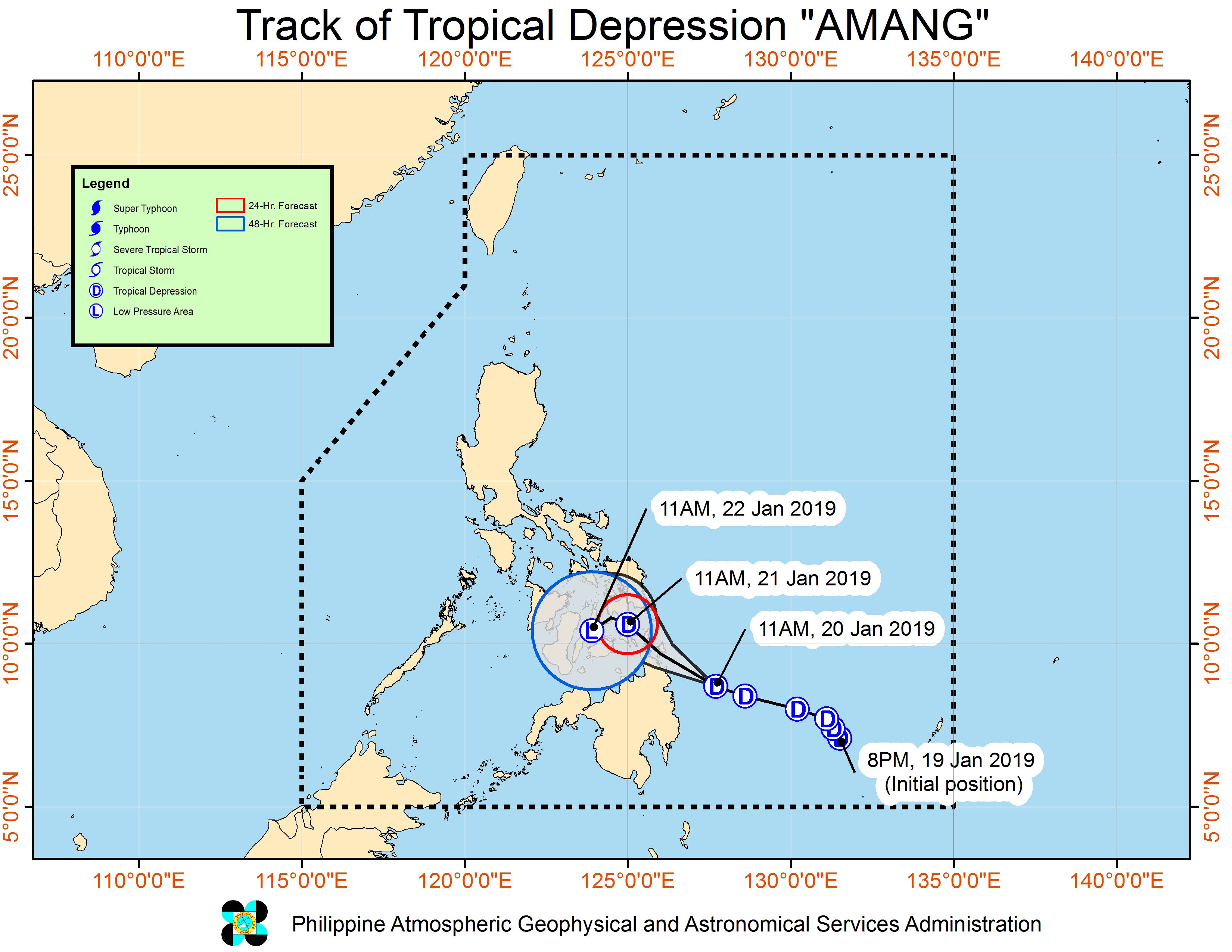 Forecast track of Tropical Depression Amang as of January 20, 2019, 2 pm. Image from PAGASA