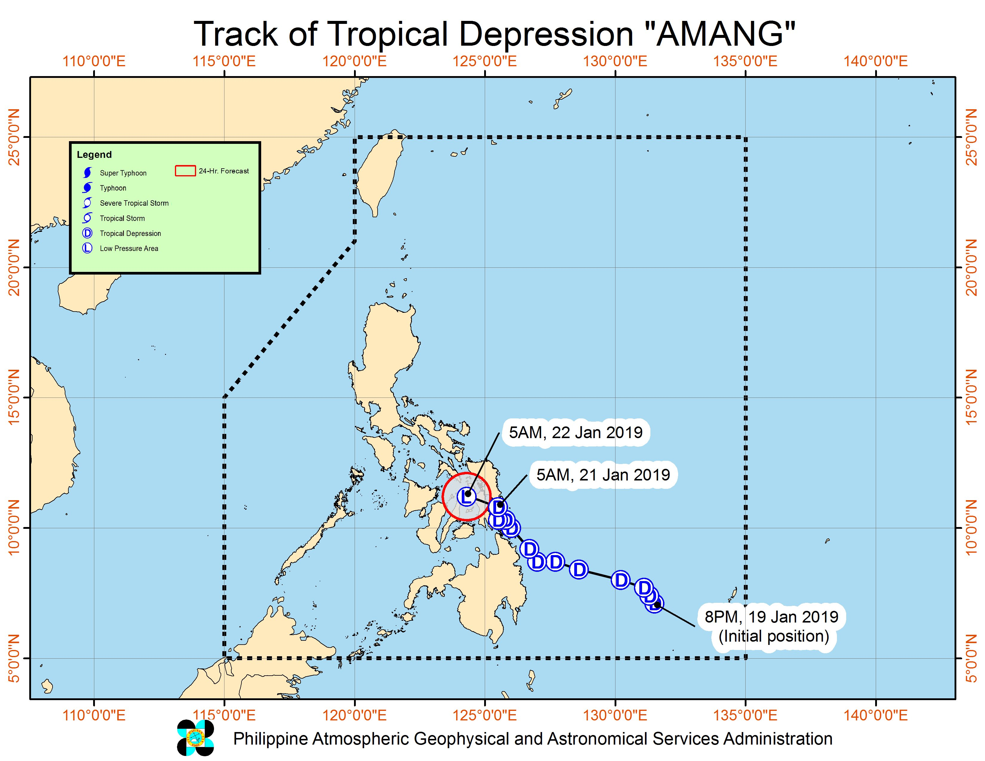 Forecast track of Tropical Depression Amang as of January 21, 2019, 8 am. Image from PAGASA