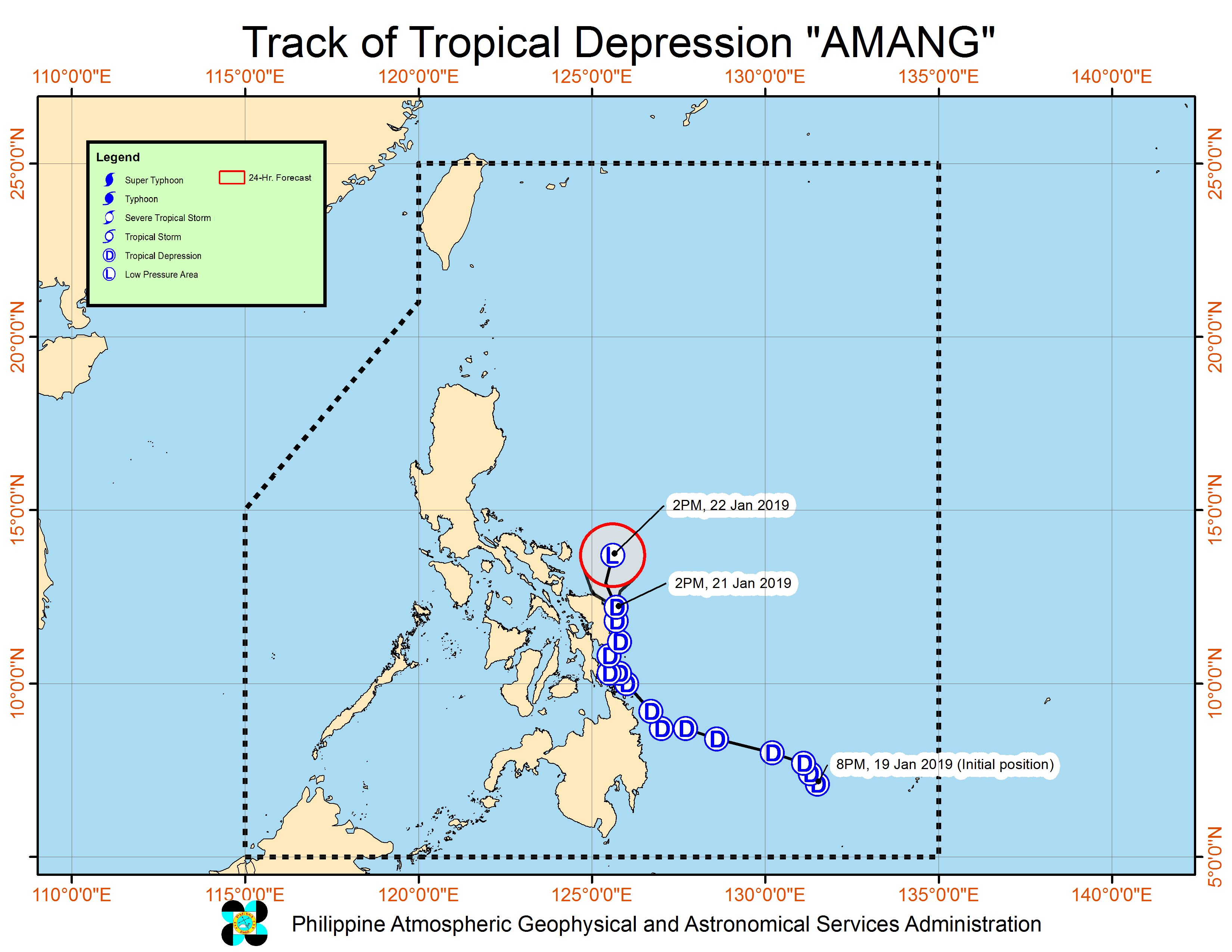 Forecast track of Tropical Depression Amang as of January 21, 2019, 5 pm. Image from PAGASA
