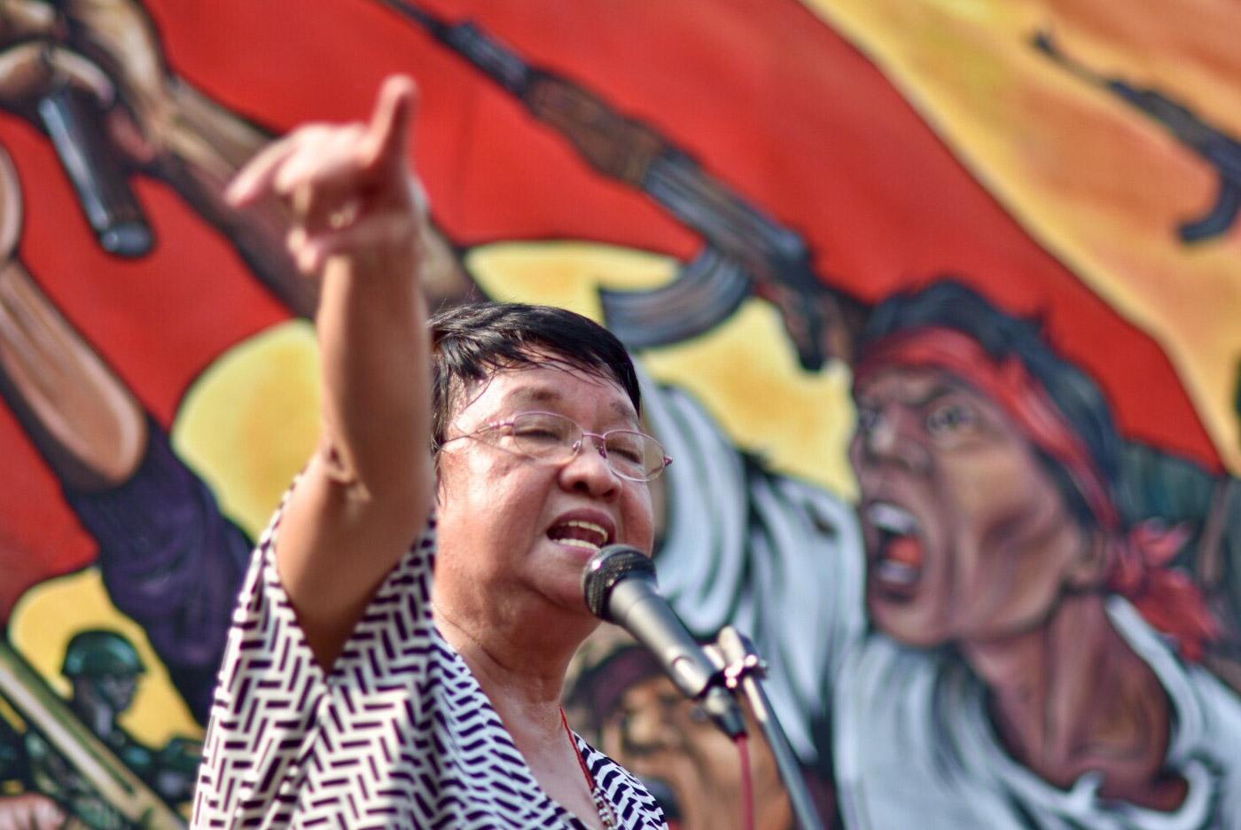 DUTERTE APPOINTEES. DSWD Secretary Judy Taguiwalo speaking at the Liwasang Bonifacio rally. DAR Secretary Rafael Mariano also showed up. Photo by LeAnne Jazul/Rappler
