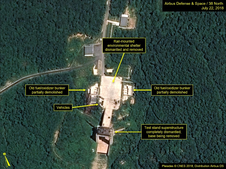 DISMANTLING. Satellite image courtesy Airbus Defense and Space and 38 North dated July 22, 2018 and obtained July 23, 2018 shows the apparent dismantling of facilities at the Sohae satellite launching station, North Korea.AFP PHOTO/Plu00e9iades u00a9 Cnes 2018, Distribution Airbus DS