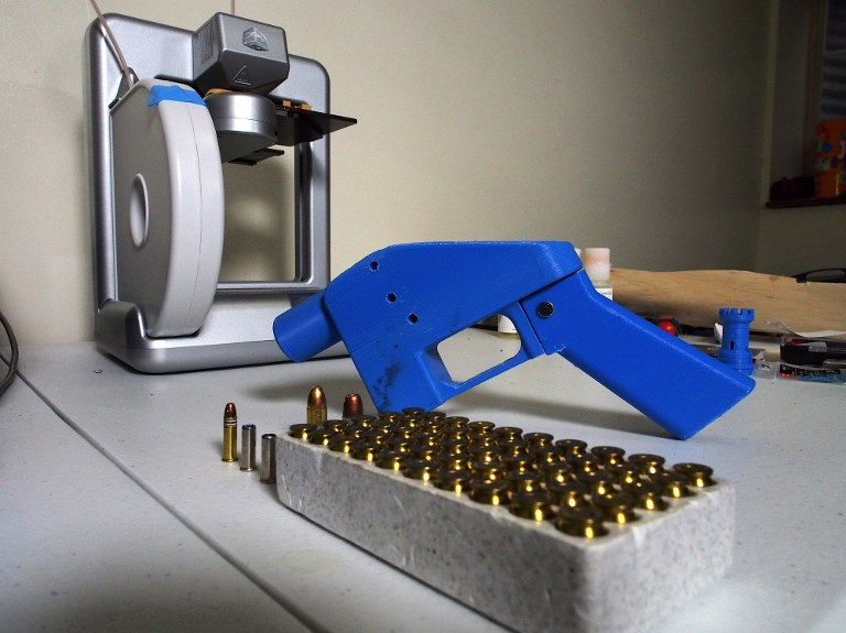 FUNDAMENTAL RIGHTS. The single-shot handgun is the first firearm that can be made entirely with plastic components forged with a 3D printer and computer-aided design (CAD) files downloaded from the Internet. Photo by Robert MacPherson/AFP