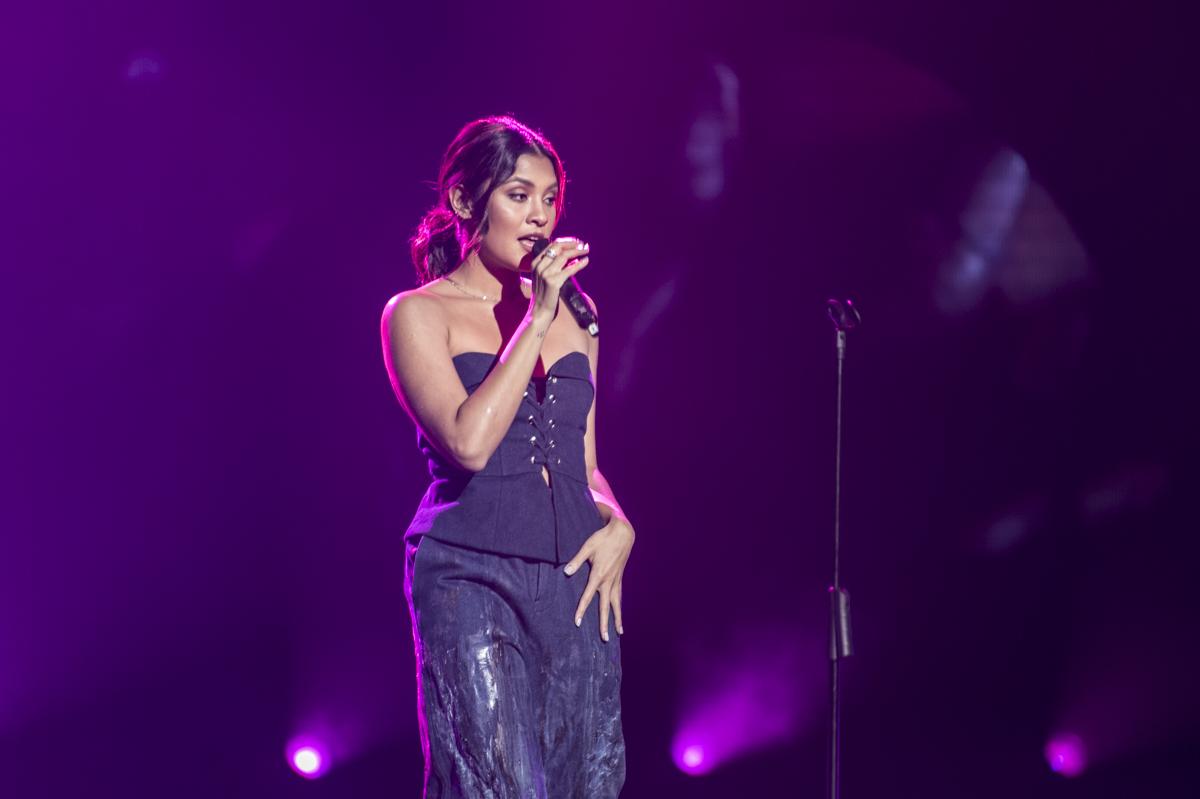Kiana Valenciano performs onstage.