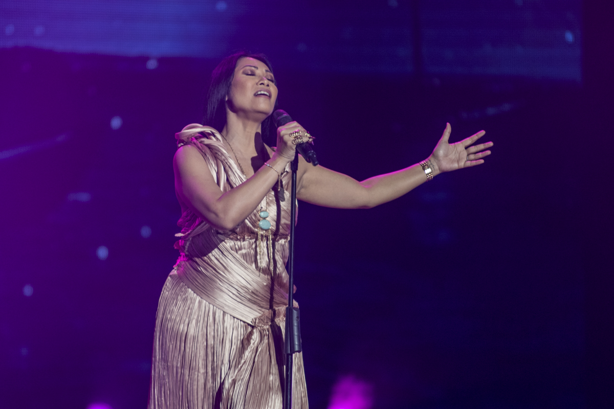 Indonesian singer Anggun performs onstage before receiving a special award from the Asian Television Awards.