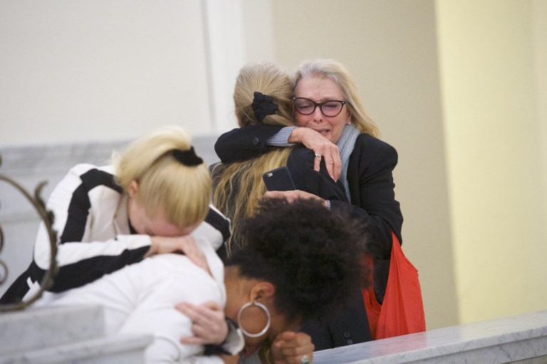 VERDICT. Bill Cosby accusers Victoria Valentino (R), Caroline Heldman (L) and Lili Bernard (2L) react after the guilty on all counts verdict was delivered in the sexual assault retrial at the Montgomery County Courthouse on April 26, 2018 in Norristown, Pennsylvania. Photo by Mark Makela/Getty Images/AFP