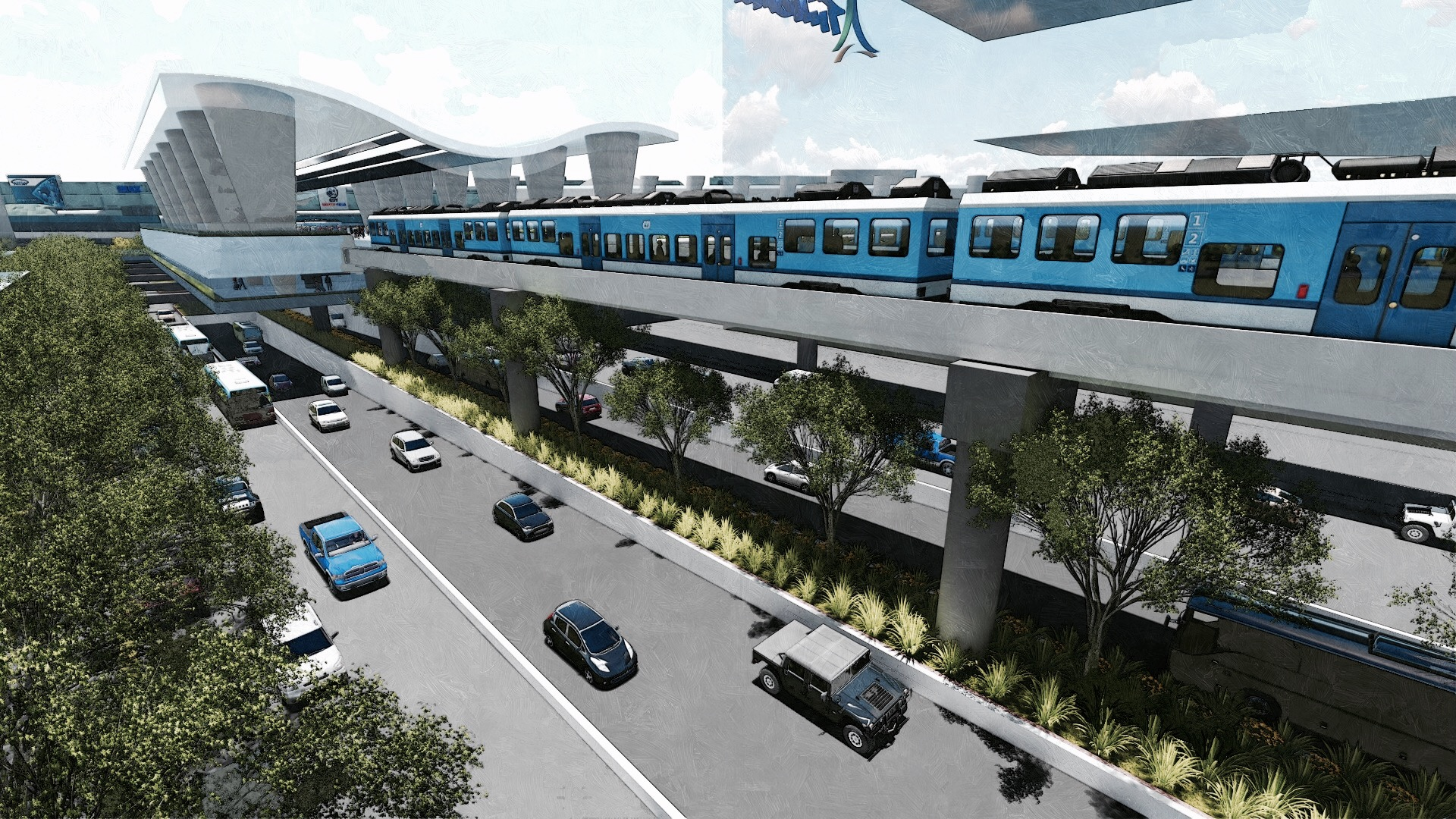 PROPOSED DESIGN. Artist's sketch of the MRT-LRT common station. Image from Department of Transportation