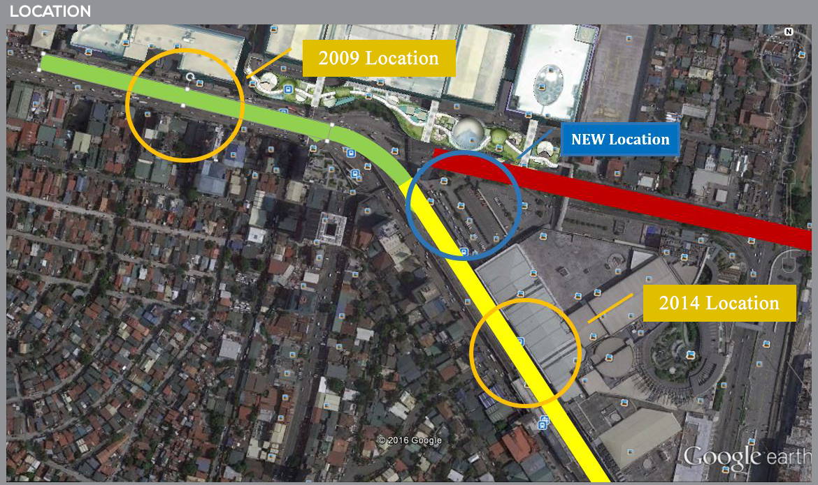 BETWEEN MALLS. A look at the new location of the MRT-LRT common station, compared to its previously proposed spots. Image from Department of Transportation