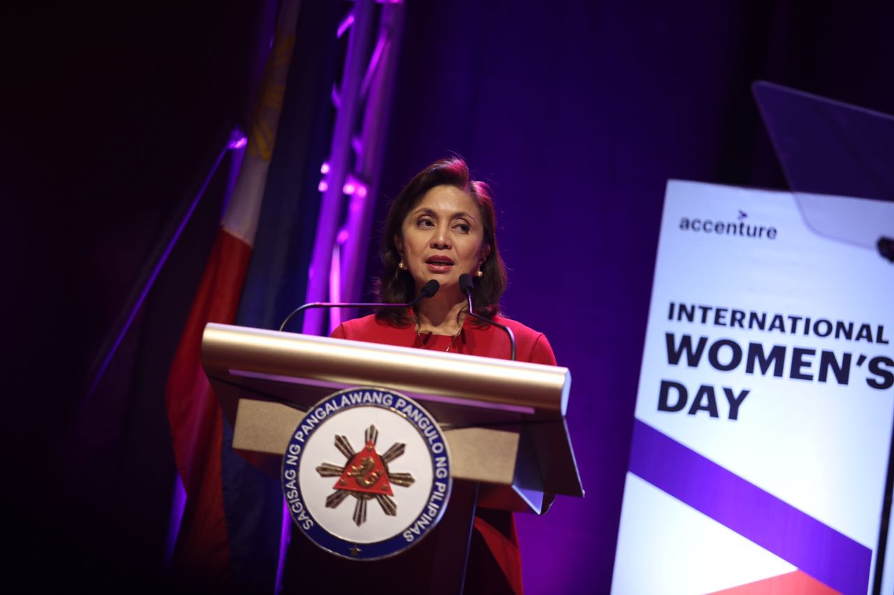 WOMEN'S RIGHTS ADVOCATE. Robredo delivers a speech on International Women's Day. Photo by OVP