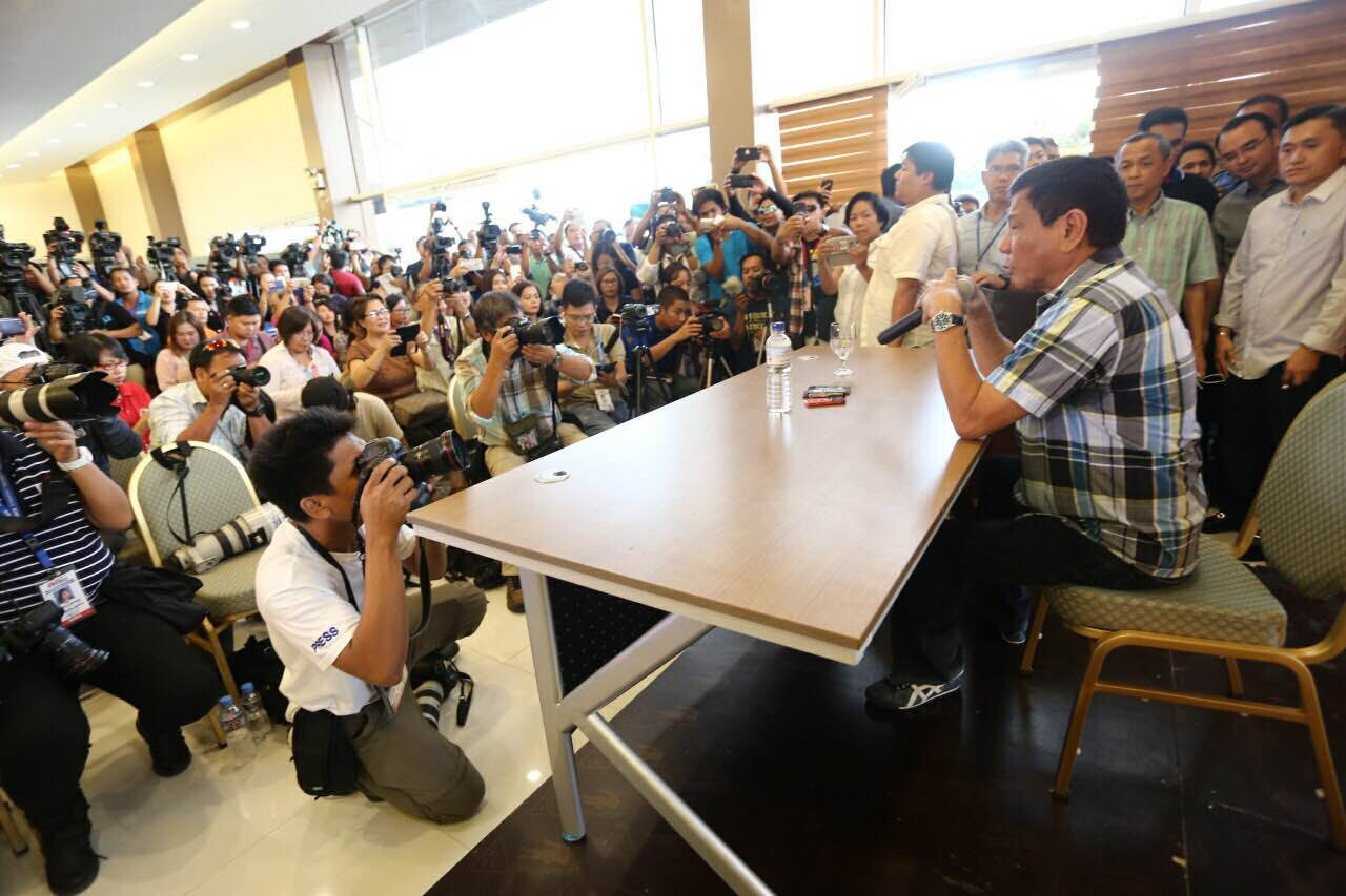 ADDRESSING THE PUBLIC. Duterte meets the press and supporters at the Matina Enclave in Davao City on May 16, 2016 announcing key personalities who will be occupying the Cabinet and his plans. Photo by Manman Dejeto/Rappler