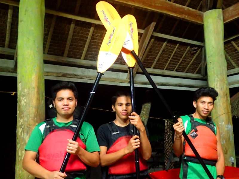 RIVER SCHOLARS. KayakAsia Philippines sponsored the college education of three guides. Pictured here from left are Derk John Reyes, Joel Morquiala, and Jeremy.