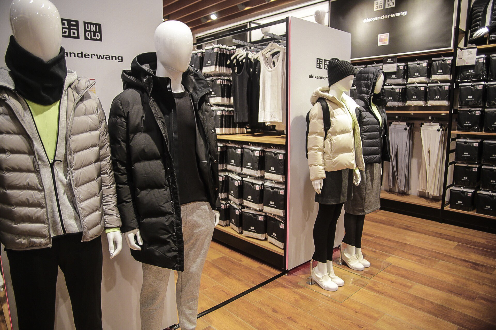 SPENDING EVERYTHING ON ALEXANDER WANG. The Alexander Wang collab on display at the Uniqlo Global Flagship store in Ayala Center, Makati. Photo by Paolo Abad/Rappler