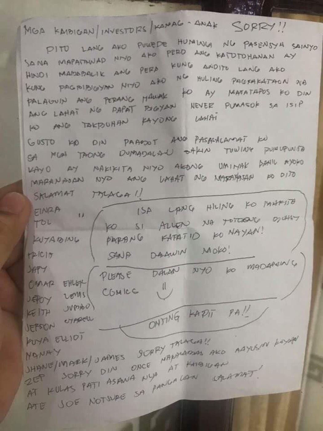 PERSONAL LETTER. Alleged scam mastermind Arnel Ordonio writes a letter to his investors. Sourced photo