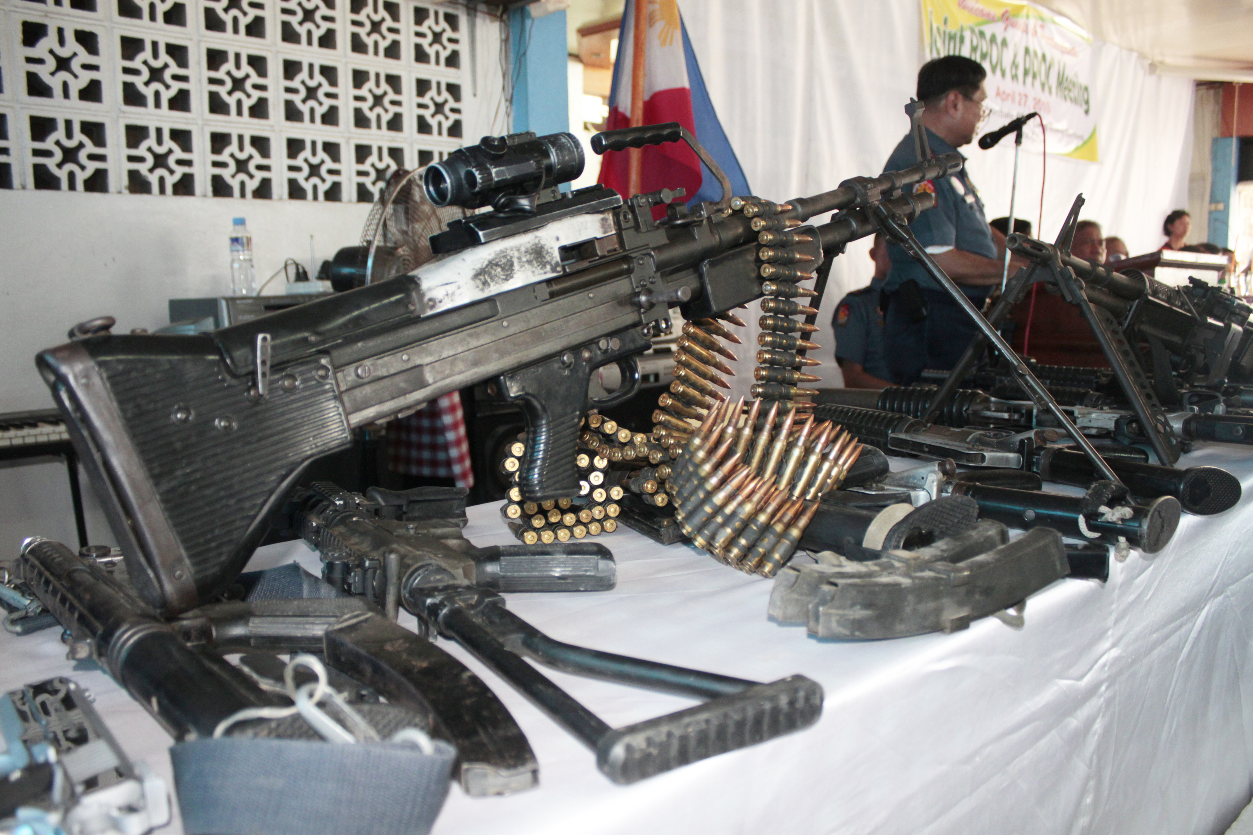 CONFISCATED. PNP Bicol presents illegal firearms turned over by the politicians in the past election in the island province of Masbate. Photo by Rhaydz Barcia/Rappler