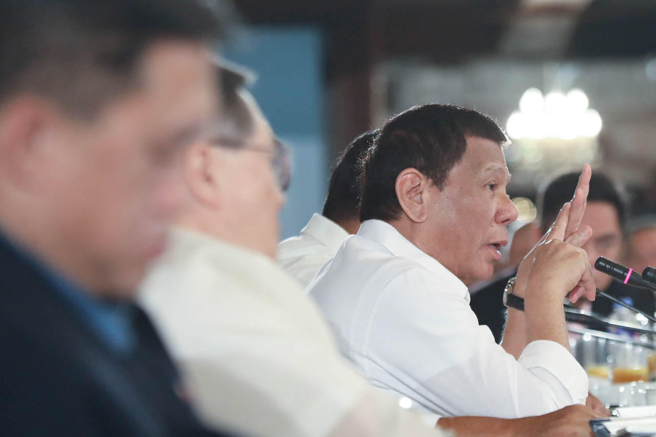 COMMANDER-IN-CHIEF. President Rodrigo Duterte presides over the Joint National Task Force to End Local Communist Armed Conflict and military-police command conference on November 18, 2019. Malacau00f1ang photo