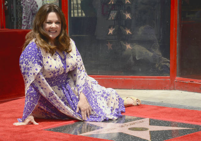 HOLLYWOOD STAR. Actress Melissa McCarthy poses during a ceremony honoring her with a star on the Hollywood Walk of Fame in Hollywood, California, May 19.Melissa, who stars in the upcoming comedy 'Spy' received the 2,552nd star in the motion picture category. Photo by Michael Nelson/EPA