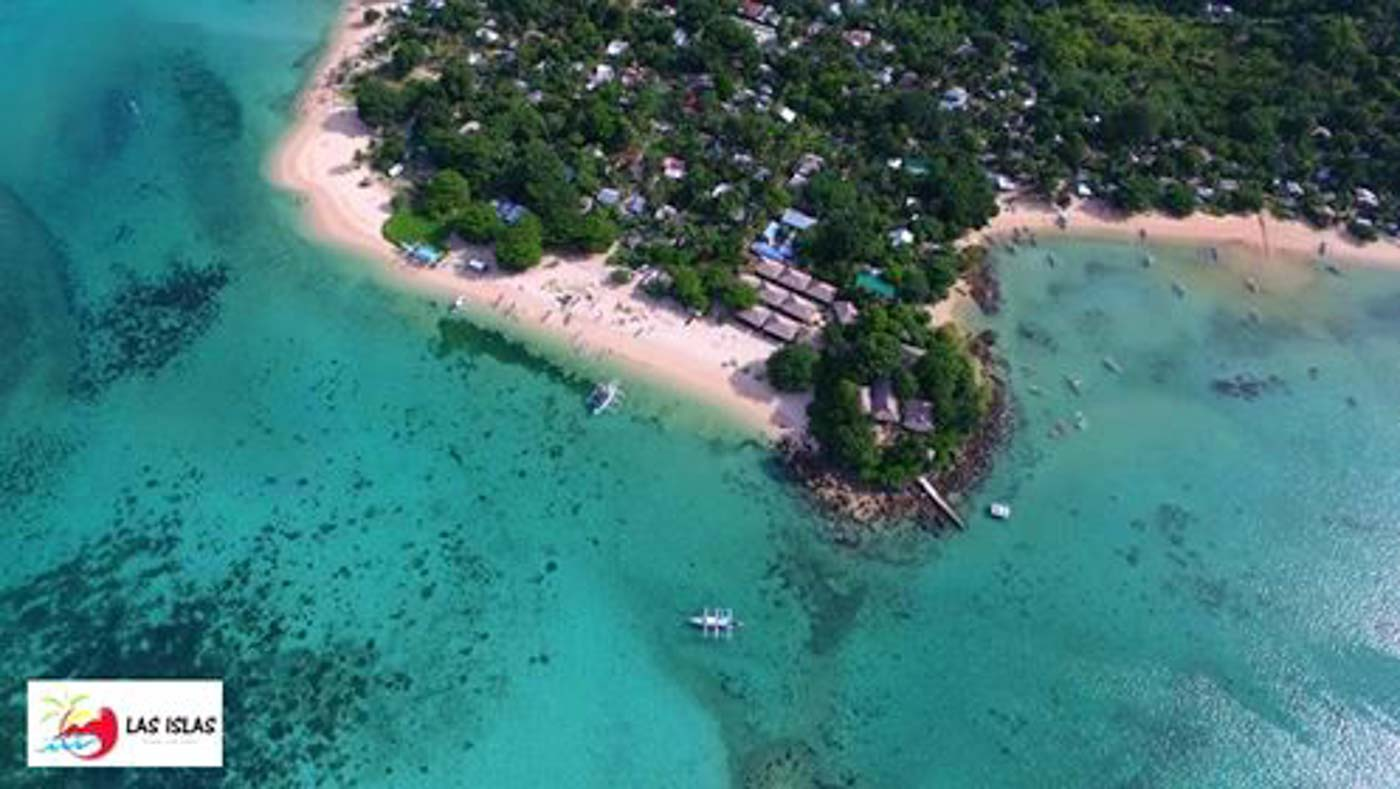 SICOGON. View of the island and one of its rustic resorts. Photo courtesy of Las Islas Travel and Tours