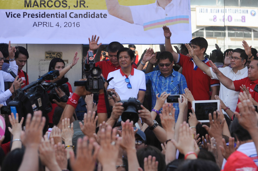 Vice presidential candidate Ferdinand u0022Bongbongu0022 Marcos during his campaign sortie in San Mateo, Rizal on Monday, April 4, 2016. Photo by Jasmin Dulay/Rappler