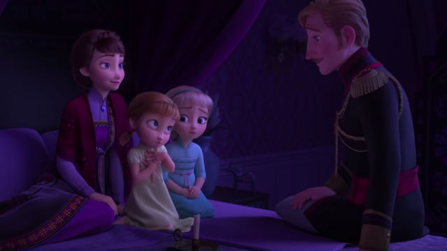 ENCHANTED FOREST. In a flashback scene, Elsa and Anna's deceased parents tell them a story of an enchanted forest.