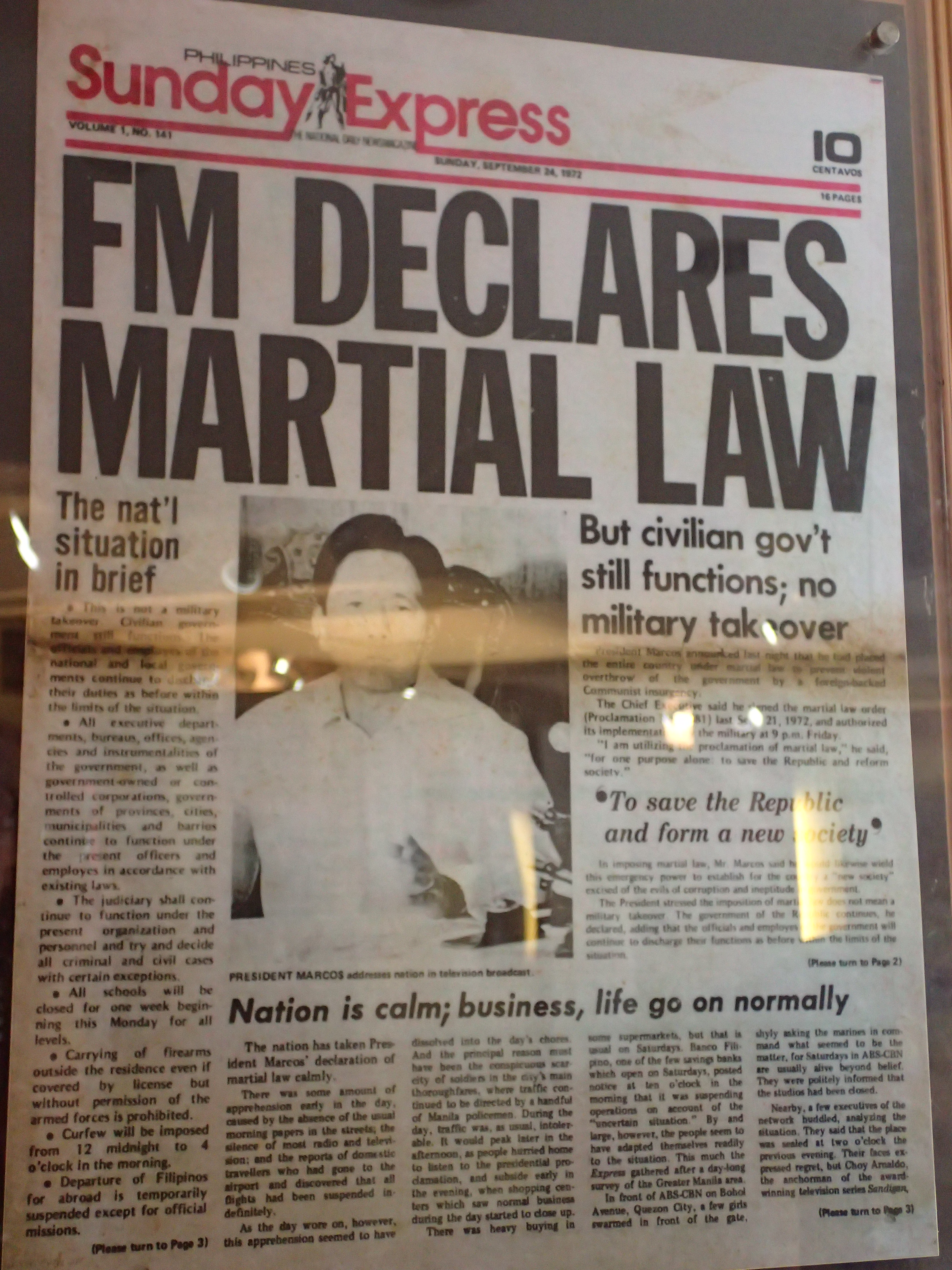 MARTIAL LAW. The front page of a newspaper reporting Martial Law declaration. Newspapers and other media outlets became state-controlled during Martial Law.