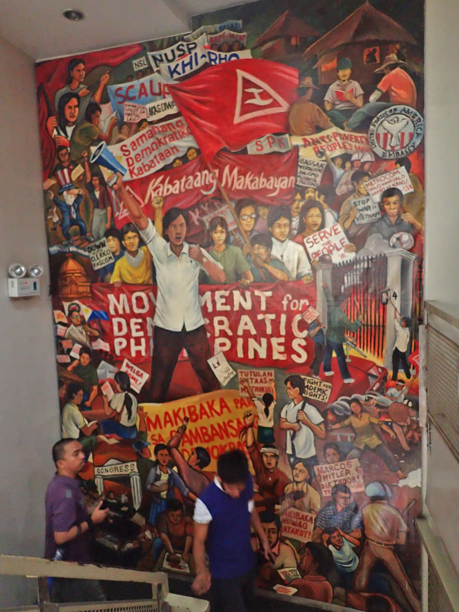 PROTEST MURAL. On the way up to the second floor is a mural on the protest actions by students, workers and other sectors.