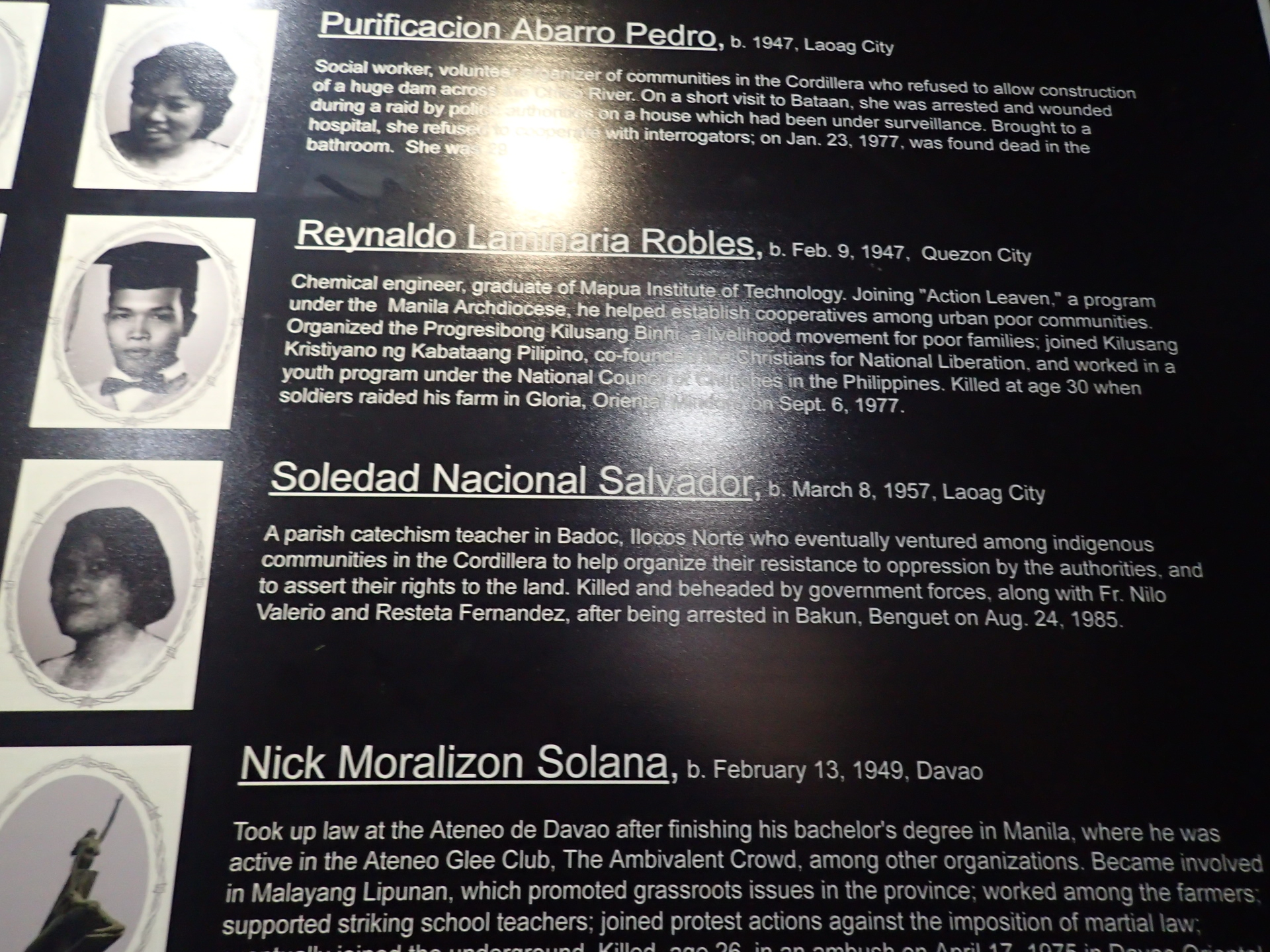 ILOCANO HEROES. Fellow Ilocanos rose up against Marcos' rule, too. Purificacion Pedro and Soledad Salvador are just a few of them. They fought for indigenous people'u0080u0099s rights to their land.