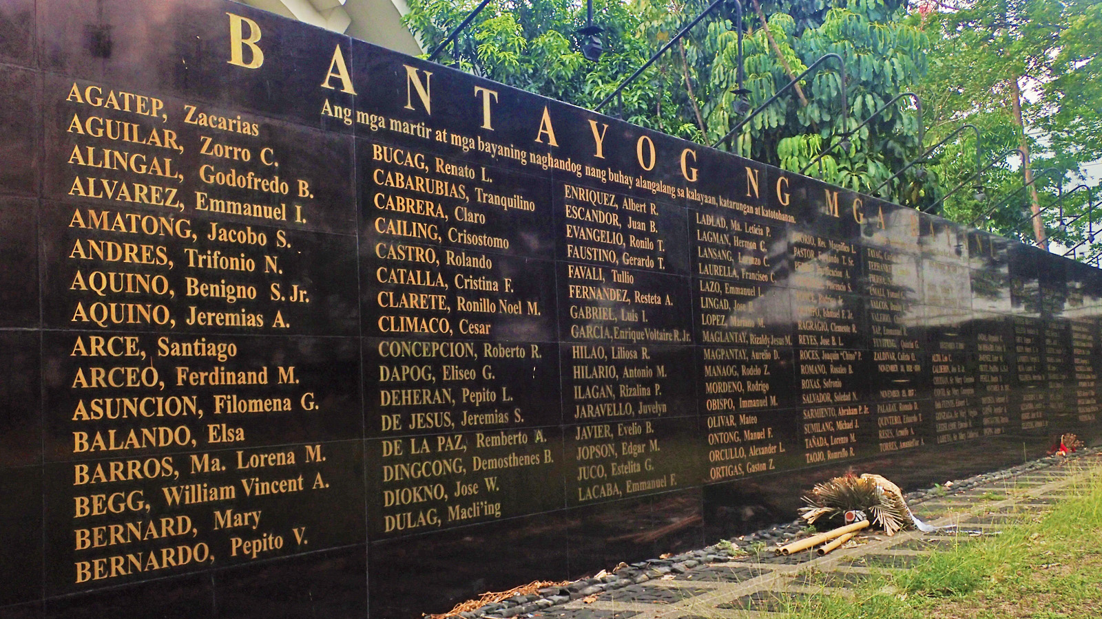 HEROESu00e2u0080u0099 AND MARTYRSu00e2u0080u0099 NAMES. Some of the names up close. Occasionally you may find flowers offered in the heroes' and martyrs'u0080u0099 memory.