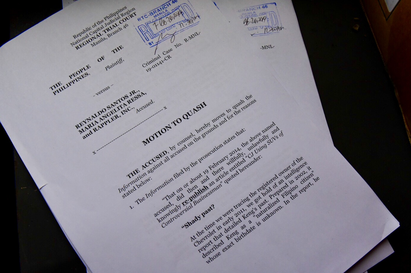MOTION TO QUASH. On February 26, 2019, the Manila RTC Branch 46 receives a Motion to Quash from the lawyers of Maria Ressa and Reynaldo Santos for the cyberlibel case filed by William Keng. Photo by LeAnne Jazul/Rappler