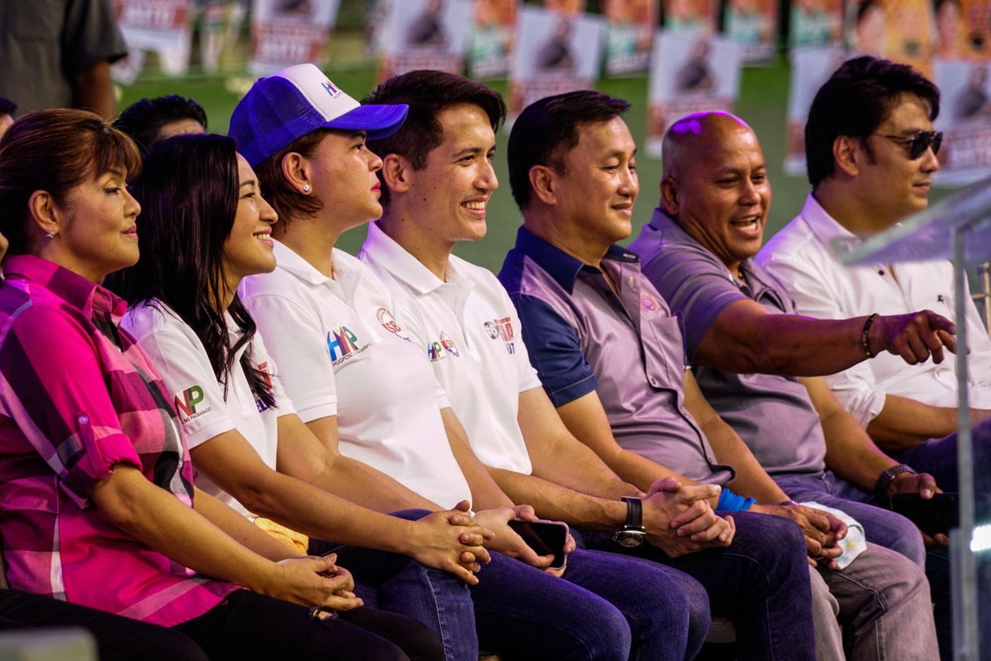 QC RACE. Sara Duterte sits between Quezon City mayoral candidate Joy Belmonte and vice-mayoral candidate Gian Sotto. Photo by Maria Tan/Rappler