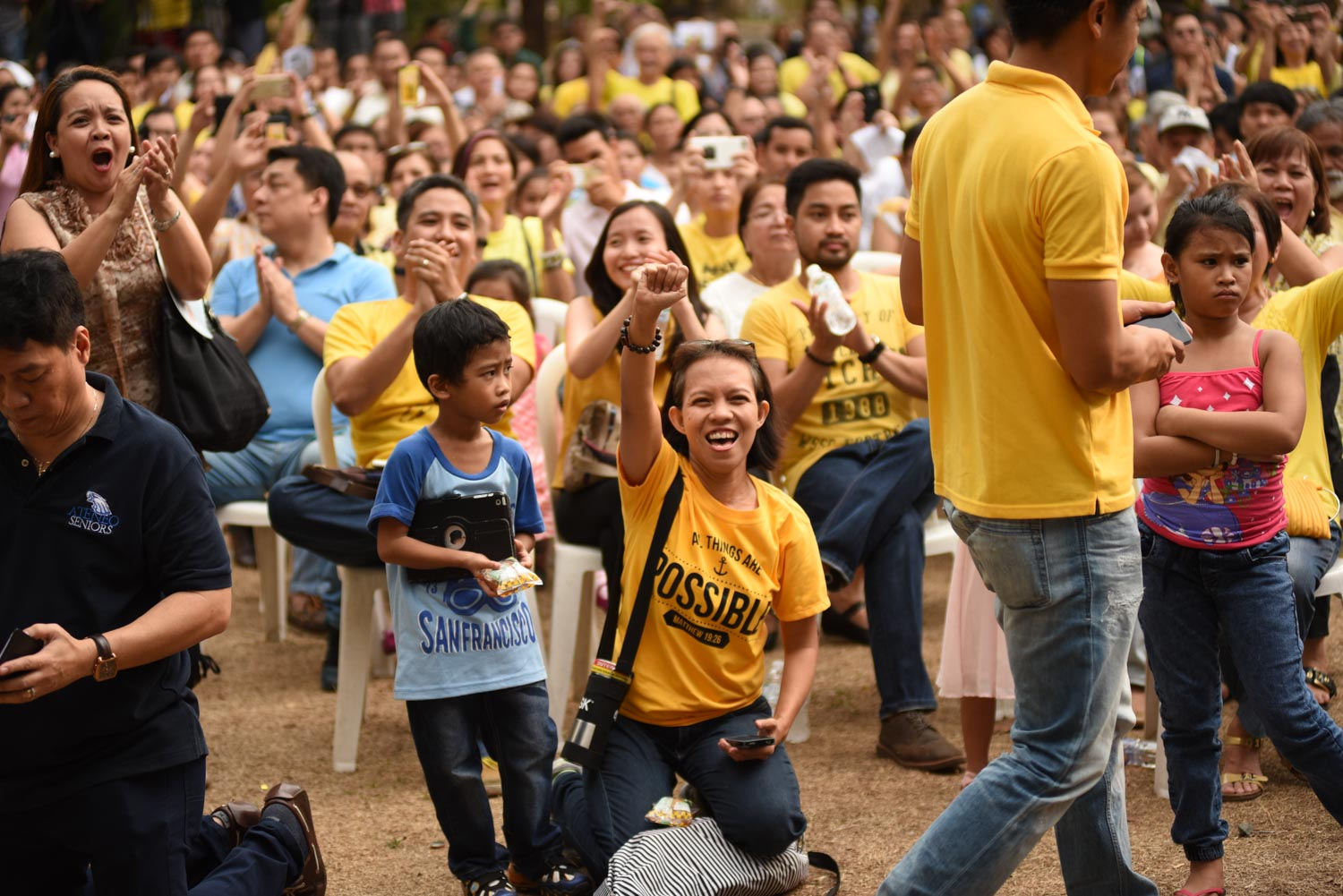 Robredo's supporters gather at the Ateneo de Manila University on Sunday, May 15.