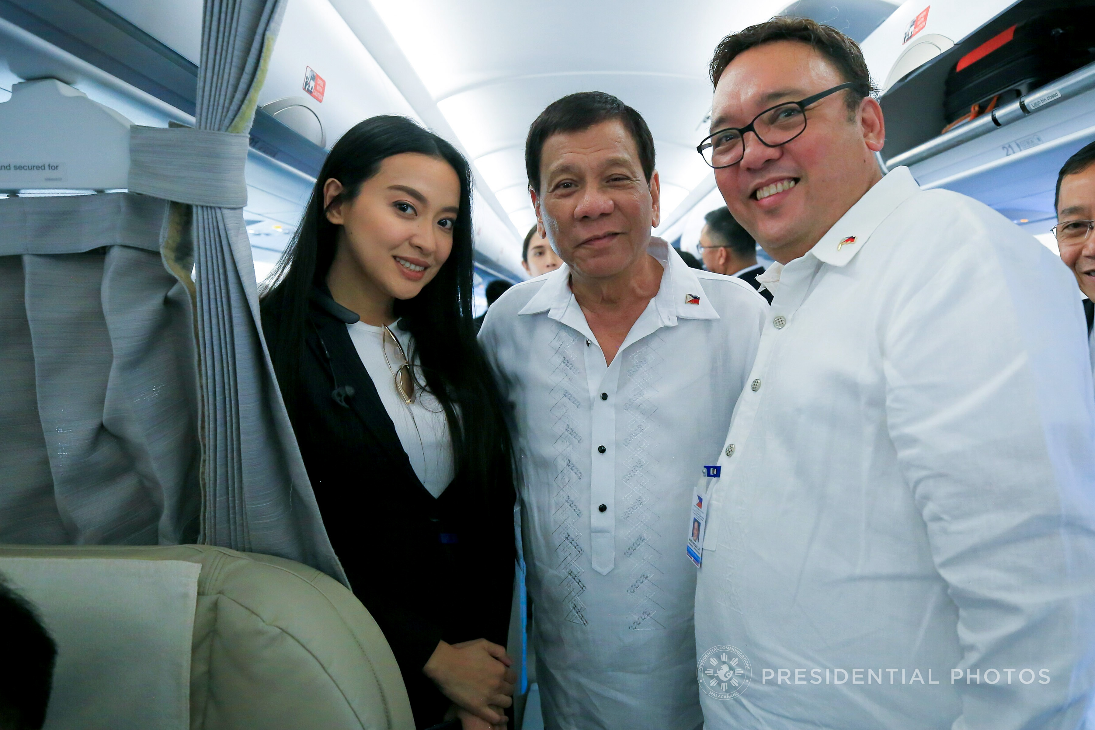 COMMUNICATING DUTERTE. Secretary Harry Roque poses with President Duterte and Assistant Secretary Mocha Uson. Malacau00f1ang photo