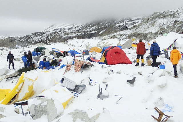 EVEREST AFTERMATH. Dozens of tents lie damaged after an avalanche plowed through Mount Everest base camp killing at least 18 people following the 7.9 magnitude earthquake in Nepal, 25 April 2015 (picture made available 26 April 2015). Courtesy of Azim Afif/EPA