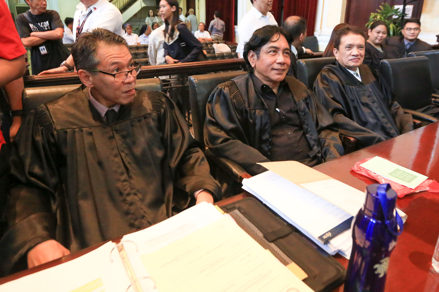 FLAG. Dean Chel Diokno, Felix Mariu00f1as, and Alexander Padilla of the Free Legal Assistance Group (FLAG), petitioners in the case, attend the oral arguments on November 28, 2017. Photo by Ben Nabong/Rappler