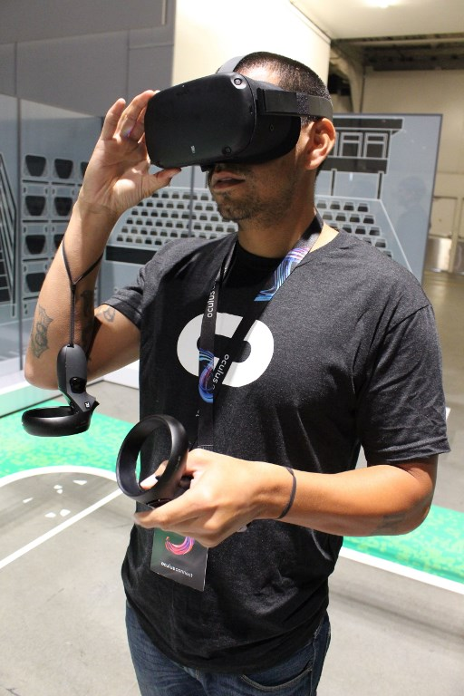 OCULUS QUEST. The new wireless Oculus Quest headset is being aimed at gamers seeking immersion in virtual worlds, with other potential applications likely in the future. Photo by Glenn Chapman/AFP
