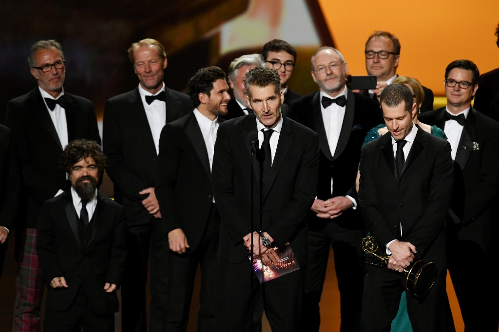 FINAL BOW. David Benioff and D. B. Weiss accept the Outstanding Drama Series award for 'Game of Thrones' onstage during the 71st Emmy Awards at Microsoft Theater on September 22, 2019 in Los Angeles, California. Photo by Kevin Winter/Getty Images/AFP