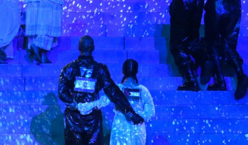 FLAG ATTENTION. This handout photo released by KAN shows two of Madonna's dancers side-by-side with Israeli and Palestinian flags on their backs during her performance in an apparent call for unity.Madonna and US rapper Quavo performed during a guest appearance at the 64th edition of the Eurovision Song Contest 2019 at Expo Tel Aviv on May 19, 2019, in the Israeli coastal city of Tel Aviv. Photo by Orit Pnini / KAN / AFP