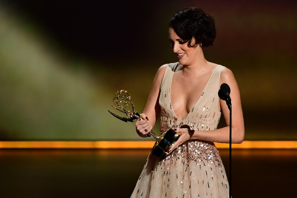 SURPRISE WIN. British actress Phoebe Waller-Bridge accepts the Outstanding Lead Actress in a Comedy Series award for 'Fleabag' onstage during the 71st Emmy Awards at the Microsoft Theatre in Los Angeles on September 22, 2019. Photo by Frederic J. Brown / AFP