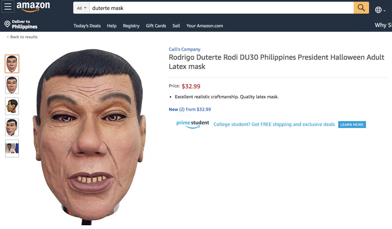 WOULD YOU GO AS DUTERTE? A Duterte mask adds a political statement to Halloween. Amazon screenshot