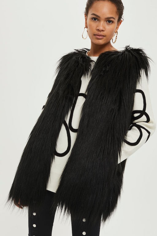 Faux fur gilet by SHACI (GBP 59) from topshop.com