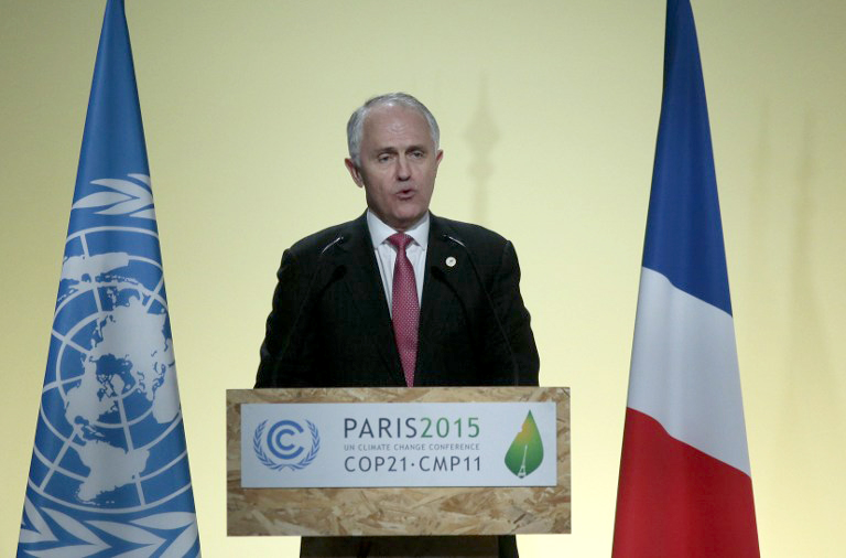 RATIFICATION. In this file photo, Australian Prime Minister Malcolm Turnbull delivers a speech during the COP21 United Nations conference on climate change in Le Bourget on the outskirts of the French capital Paris on November 30, 2015. File photo by Jacques Demarthon/AFP