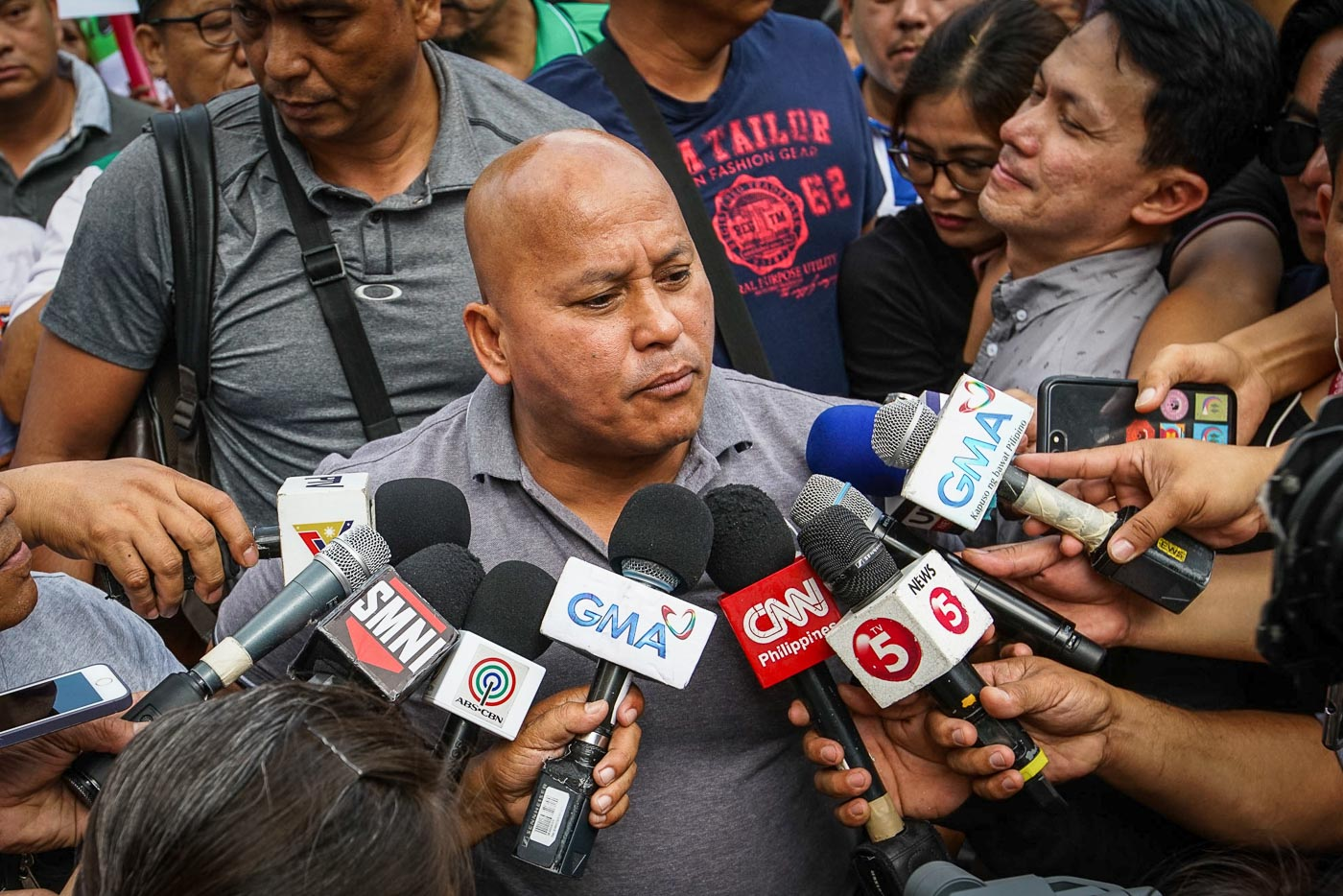 READY FOR 2019. BuCor director Ronald dela Rosa takes questions from the media before filing his certificate of candidacy at he Comelec office in Manila on October 12, 2018. Photo by Jire Carreon/Rappler