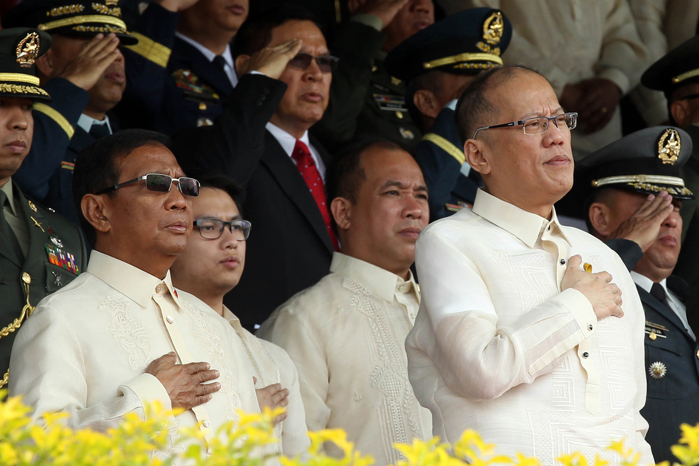 SAME STAGE. President Aquino and Vice President Binay during the graduation ceremony of the Philippine Military Academy in Baguio City on March 13. Photo from the Malacanang Photo Bureau