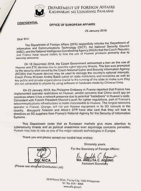 WARNING. The Department of Foreign Affairs warns the government about China's Huawei amid the Duterte administration's pivot to China. Sourced photo