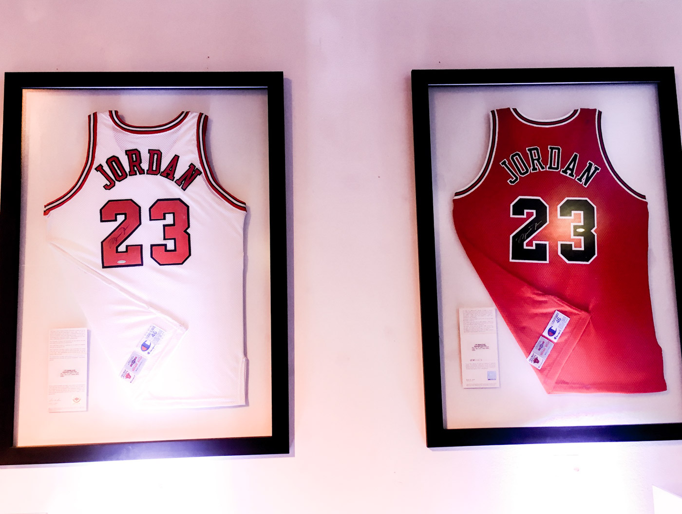 GOAT. These Michael Jordan jerseys that were made and certified by the NBA's original jersey provider, Champion. Photo by Beatrice Go/Rappler