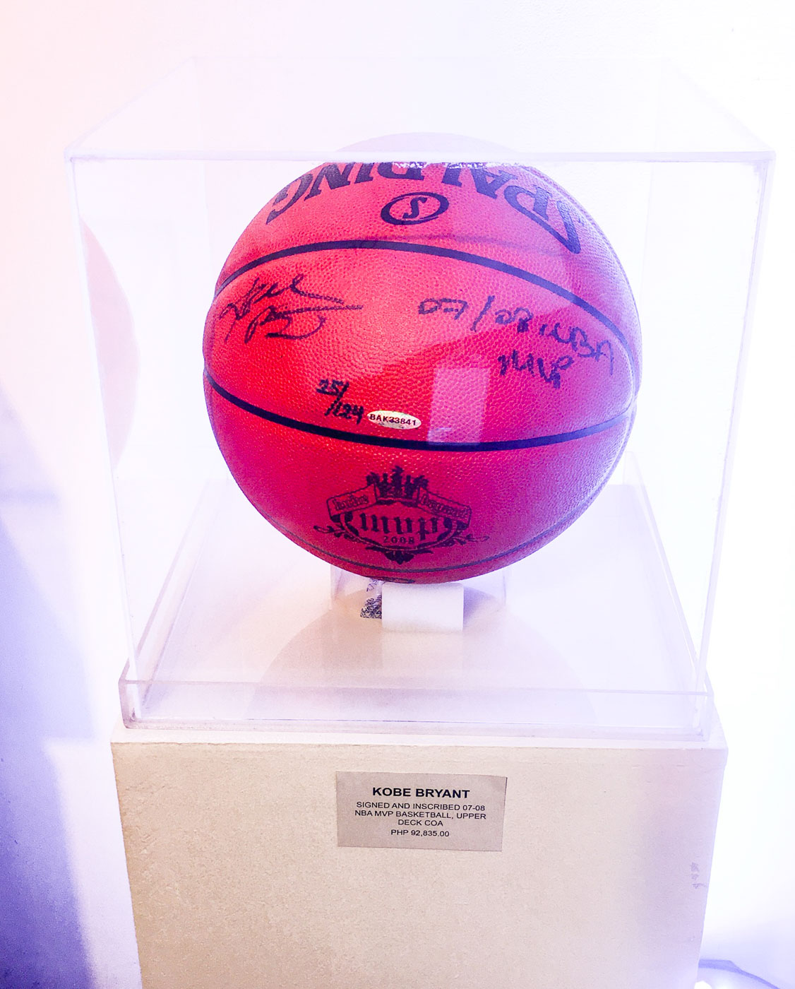 REAL DEAL. Kobe Bryant signed and inscribed the Spalding basketball when he was crowned the 2007-2008 Season MVP. Photo by Beatrice Go/Rappler
