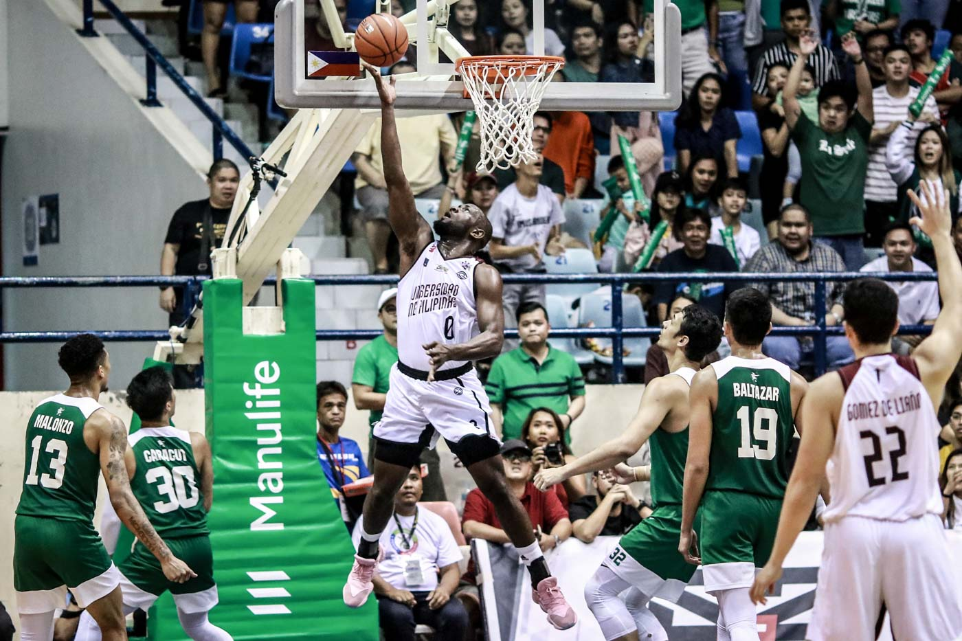 WHAT MATTERS. 'Although it went up and down, well we still got the win at the end of the day,' says Bright Akhuetie, who delivers yet again with 17 points and 10 boards. Photo by Michael Gatpandan/Rappler