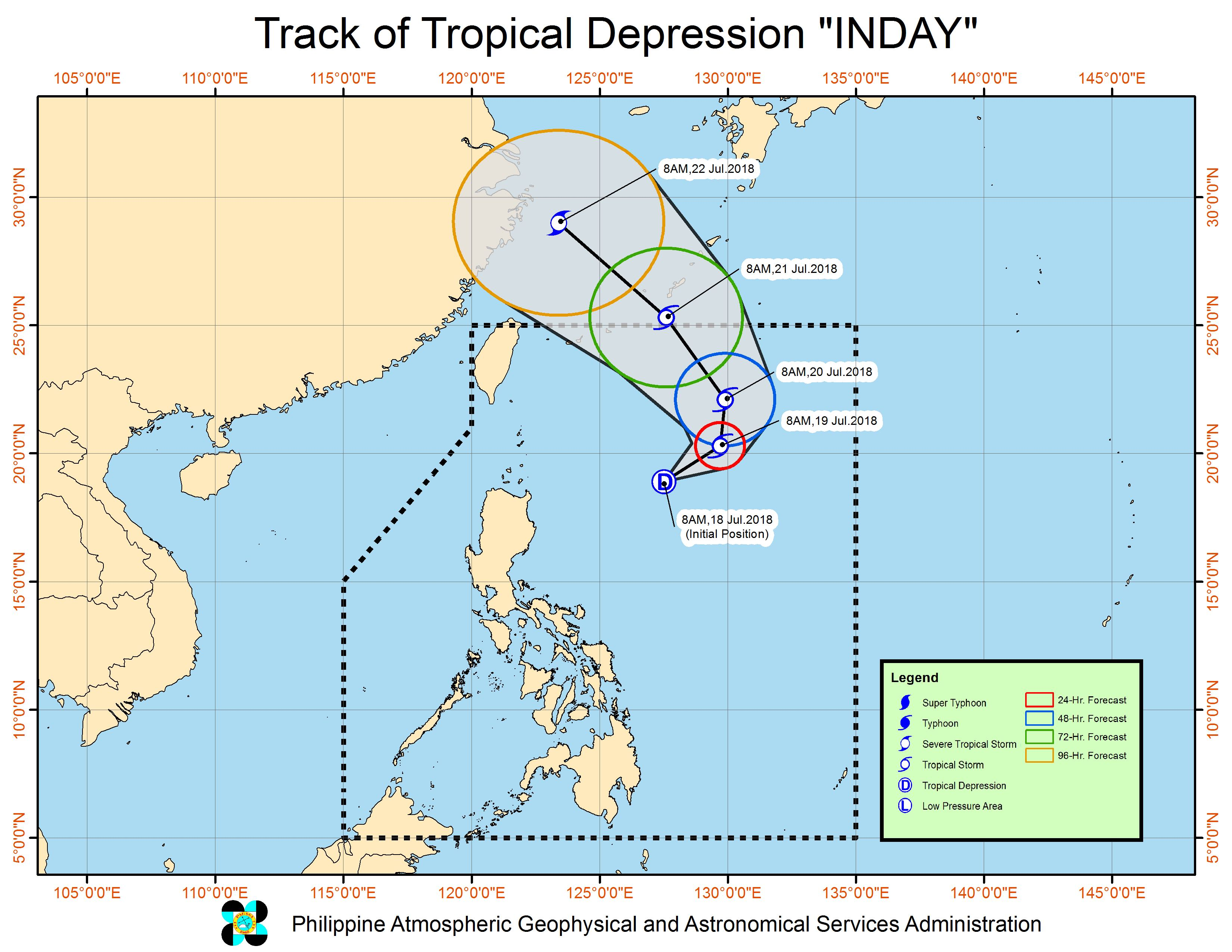 Forecast track of Tropical Depression Inday as of July 18, 2018, 11 am. Image courtesy of PAGASA