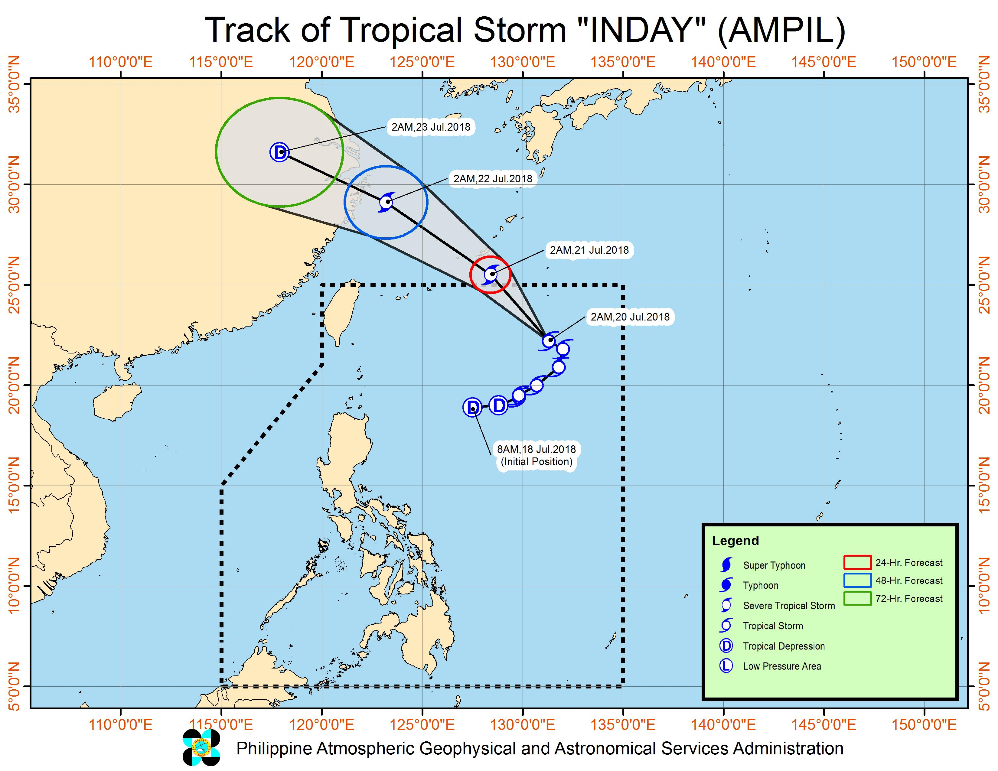 Forecast track of Tropical Storm Inday (Ampil) as of July 20, 2018, 4 am. Image courtesy of PAGASA
